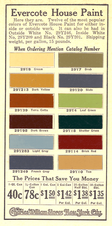 A 1917 Colour Chart For House Colors